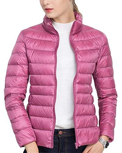 Pink1 Giacca Moda Autunno Con Donna Colore Invernali Puro Style Fit Slim Grazioso Outerwear Lunga Piumino Casual Manica Di Ragazze Trapuntata Festa Cerniera 01nqxwvZ