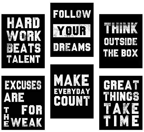 Homanga Motivational Wall Art Posters Positive Office Decor Art Prints Set of 6 Inspirational Quote Wall Art for Office Living Room Bedroom Canvas Posters 8x10 Inch Unframed