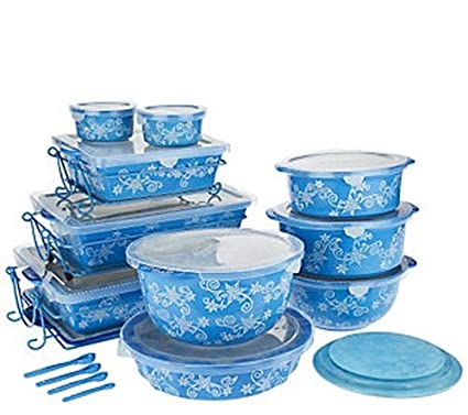 Amazon.com: Temp-tations Floral Lace 24-piece Oven-to-table Set ...