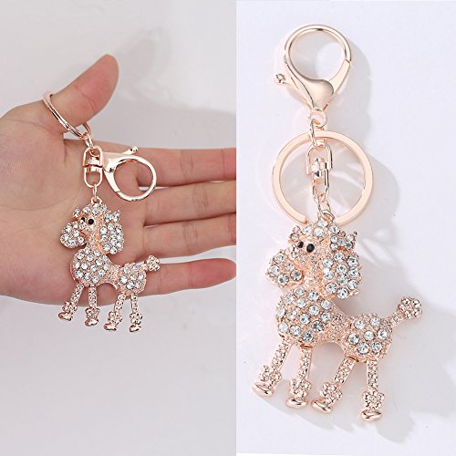 Finance Plan Clearance Sale Poodle Dog Rhinestones Keychain Key Ring Bag Pendant Hanging Ornament Gifts