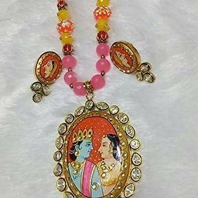 Buy radha krishna pendant set online at low prices in india amazon radha krishna pendant set aloadofball Choice Image