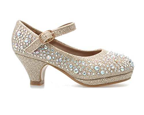 Titan Mall Forever Kids Dana-58k Mary Jane Dress Pumps,Champagn,11]()