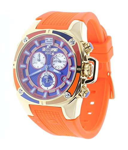 Technosport Swiss Chronograph Orange Silicone Strap 38mm Shiny Gold Case Unisex Watch TS-100-Splash4