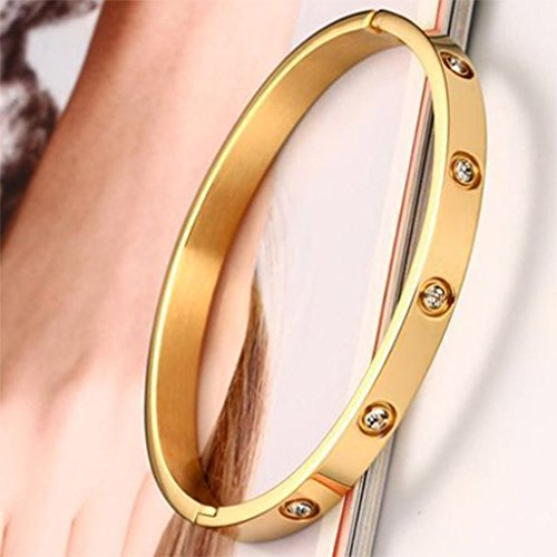 Menoa Bangle Bracelet Geometric Unique Polished Gold Plated Rhinestone Stainless Steel Lover Mom Gift