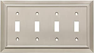 Franklin Brass W35227-SN-C Classic Architecture Quad Toggle Switch Wall Plate/Switch Plate/Cover, Satin Nickel