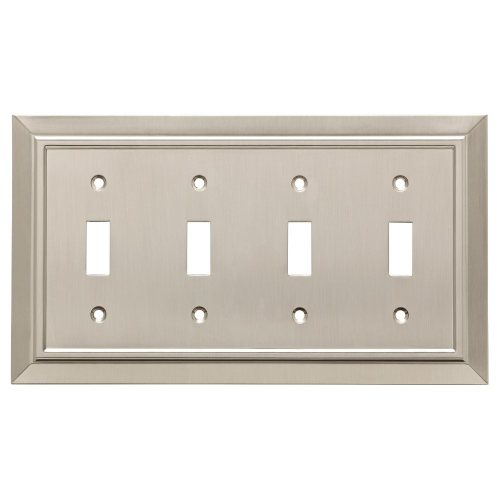 Franklin Brass W35227-SN-C Classic Architecture Quad Toggle Switch Wall Plate/Switch Plate/Cover, Satin Nickel by Franklin Brass
