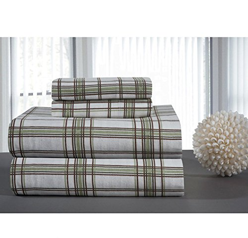 - 3 Piece Girls Sage Green Twin Xl Deep Pocket Sheet Set, White Brown Color Plaid Buffalo Check Gingham Lumberjack Pattern, Kids Bedding For Bedroom, Luxurious Traditional Checkered Themed Teen, Cotton