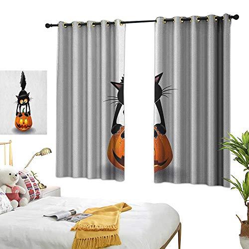 LsWOW Restaurant Curtain W63 x L45 Halloween,Black Cat on Pumpkin Drawing Spooky Cartoon Characters Halloween Humor Art, Orange Black Room Darkening Curtains for -