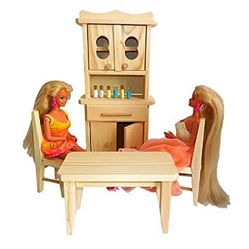 juguete para nias de pino natural de madera cocina para muecas y muecas barbie