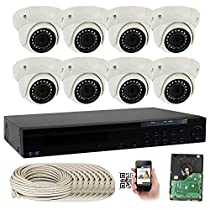 GW Security 16 Channel 5MP PoE NVR with 8 x Dome 5MP HD 1920p 3.6mm lens Indoor Security IP Camera and (Pre-installed 4TB HDD, 4x HDD bay, up to 24TB total)