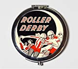 Roller Derby Compact Mirror Retro Ad Roller Skating Pocket Mirror for Cosmetics
