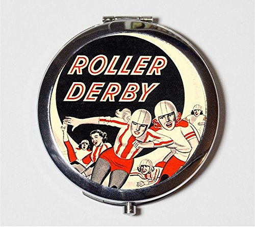 Roller Derby Compact Mirror Retro Ad Roller Skating Pocket Mirror for Cosmetics by Fringe Pop