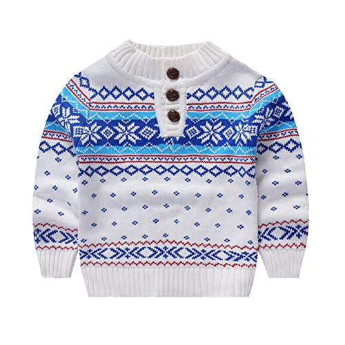 MOMOLAND Toddler Kids Boys Sweater Snowflake (White, 100/2-3T)