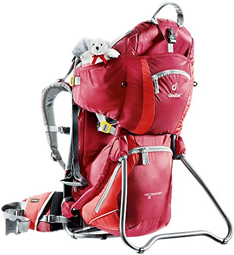 Deuter External Pockets - Deuter Kid Comfort 2 Framed Child Carrier for Hiking, Cranberry/Fire