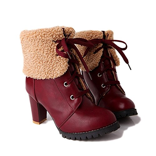 Boot Womens Ankle Round up Heel Boot Lace Fashion Winter Toe Red Heel Chunky Aqw1CFg