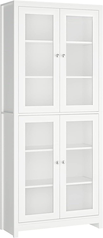 Vitrinas de Cristal Aparador Cocina Estanterias para Libros para Salón Oficina Estudio Dormitorio con 6 Estantes 4 Puertas Madera y Cristal Blanco 80x33x190cm