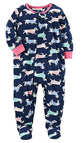 Pajamas Dog Carters - Carter's Girls' 12M-12 Dog Fleece Pajamas Blue 3T
