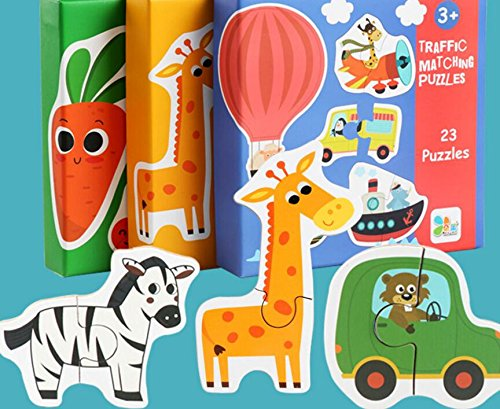 YChoice Educational Puzzle Kids Creative Wooden Educational Puzzle Early Learning Number Shapes Color Animal Toy Fantastic Gifts Kids(Transportation)