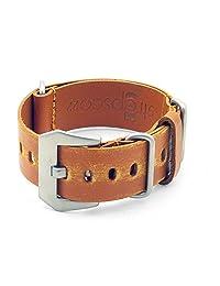 StrapsCo 22mm Tan Ultra Distressed Leather G10 Nato Zulu Watch Strap w/ Pre-V Buckle