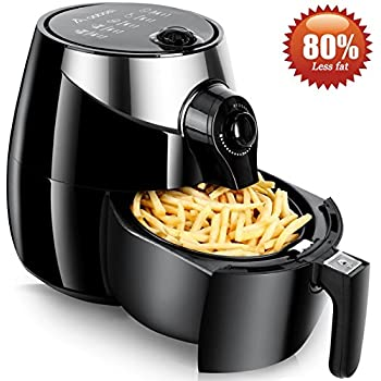 Aobosi Air Fryer 2.6 Quart 80% Less Fat Healthy Multi Airfryer Cooker Oil Free Frying with Dual Dial Timer & Temperature Controls,Suitable For Small Family (3-4 members),Black+Free Recipe Cookbook