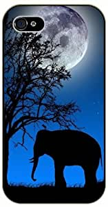 Elephant and mouse shadow, bright moon, night - iphone 4 4s black plastic case / Animals and Nature