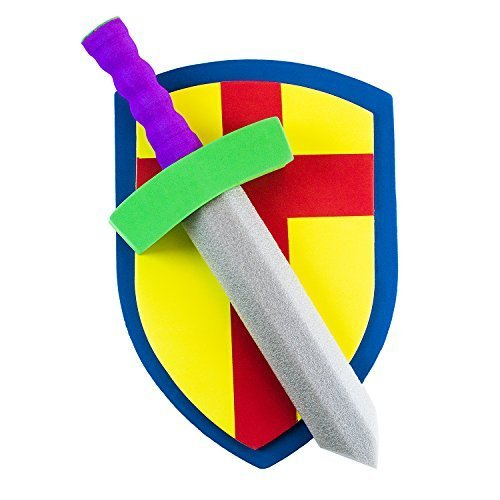 Children's Foam Toy Medieval Joust Sword & Shield Knight Set Lightweight Safe for Birthday Party Activities, Event Favors, Toy (Joust Set)