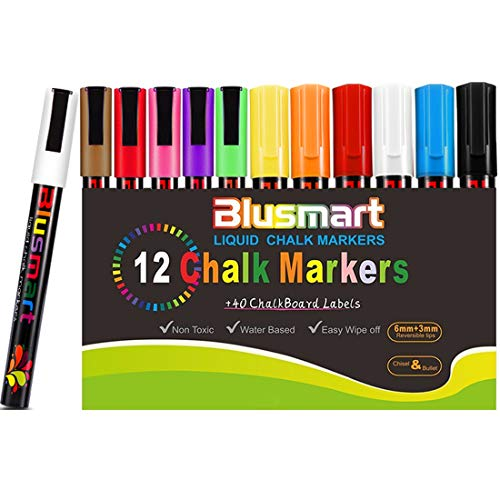 Chalk Markers, Blusmart 12 pack Colorful Erasable Glass Window Pens with 40 Chalkboard Labels, Reversible Tips 6mm+3mm, Children Friendly by Blusmart (Image #7)