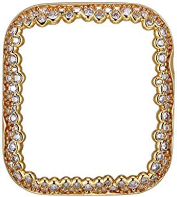 SKYB 18K Yellow Gold Plated Champagne Bubbles Jewelry-Style Apple Watch Case with Zirconia CZ Border - Medium (Fits 40mm Series 4/5 iWatch)