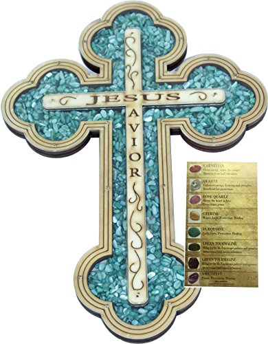 Wall Turquoise Cross (Jesus Savior Cross filled with Turquoise semi precious stones from the Holy Land)