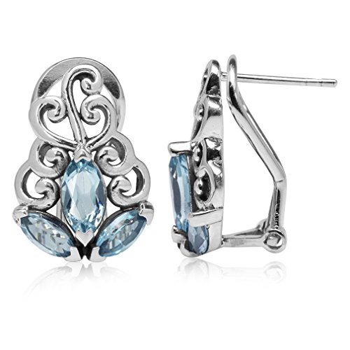 2.5ct. Genuine Blue Topaz Antique Finish 925 Sterling Silver Swirl Omega Clip Post Earrings ()