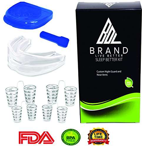 Snore Stopper Mouthpiece with Anti Snore Nose Vents - Snoring Solution Mouth Guard - Bruxism by BDL Brand