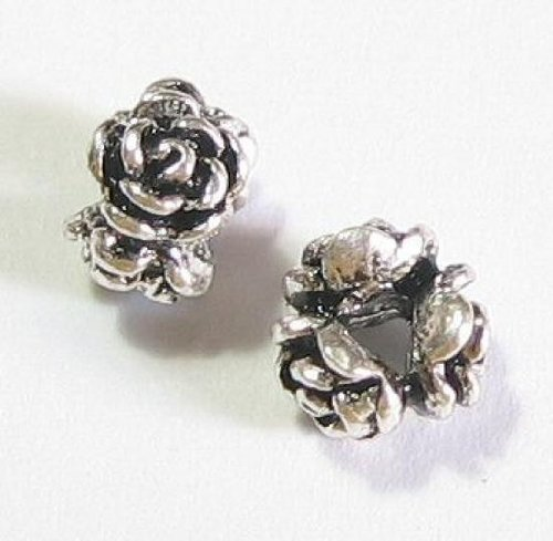 4 pcs .925 Sterling Silver Rose Rondelle Bead Spacer 4mm X 6mm/Findings/Antique from Dreambell