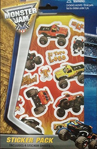 Monster Jam Sticker Pack Stickers - Includes 4 Stickers Sheets -