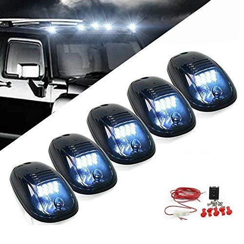 5pcs 12 LEDs White LED Cab Roof Top Marker Running Clearance Lights For Ford Truck SUV Pickup 4x4 (Black Smoked Lens Lamps) ()