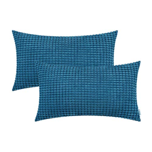 CaliTime Pack of 2 Comfy Bolster Pillow Covers Cases for Couch Sofa Bed Comfortable Supersoft Corduroy Corn Striped Both Sides 12 X 20 Inches Deep Sea Blue