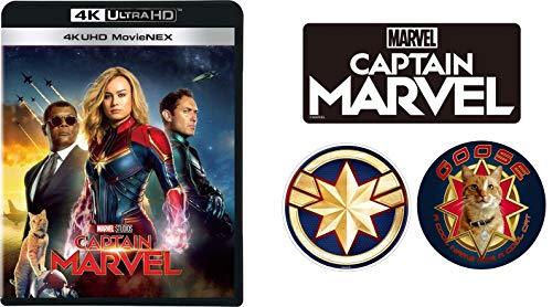 (2019年7月3日 발매예정 - 예약주문) 【Amazon.co.jp 한정】 캡틴 마블 4K UHD MovieNEX (오리지널 스티커 3 장 세트 포함) [4K ULTRA HD + 3D + 블루 레이 + 디지털 복사 + MovieNEX 월드] [Blu-ray]