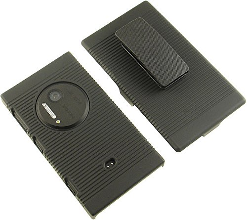 BLACK RUBBERIZED HARD CASE COVER BELT CLIP HOLSTER STAND FOR NOKIA LUMIA 1020 Photo #5