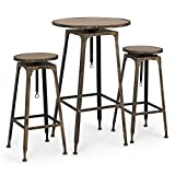 Belleze Adjustable Pub Table and Stools Vintage Antique Bistro High Industrial Chair, 3 Piece