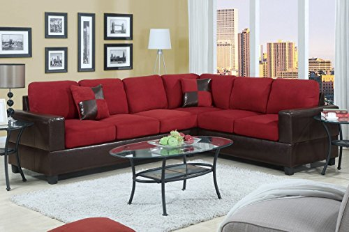 2Pcs Modern Red Plush Microfiber Reversible Sectional Sofa Set with Framed in a Dark Brown Faux Leather - Sectional Wedge