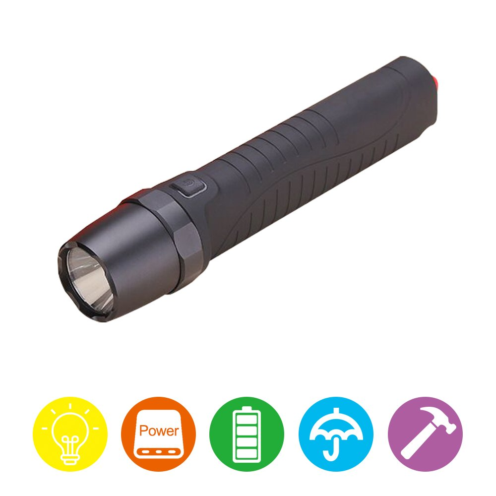 ElementDigital LED Flashlight Torch Waterproof 4 Modes USB Rechargeable High Brightness with Car Safety Hammer Phone Charging Port Long Working Time for Camping Hiking Backpacking BBQ EDC (Black)