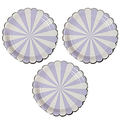 Disposable Party Paper Plates Stripe Dessert Plates 9-Inch for a Tea Party, Picnic or Birthday, Pack of 24 (9 in, (Paper Halloween Stripe)