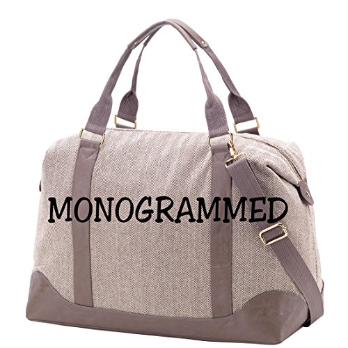 Herringbone Fashion Print Weekender Bag with Faux Leather Trim *** Can be Personalized (Monogrammed)