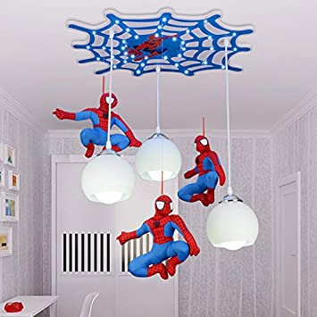 Cool Cartoon Character Spiderman Ceiling Children Room Boy Bedroom Lighting  Ceiling Lamp LED Creative Remote Control Switch,White,Button Switch: ...