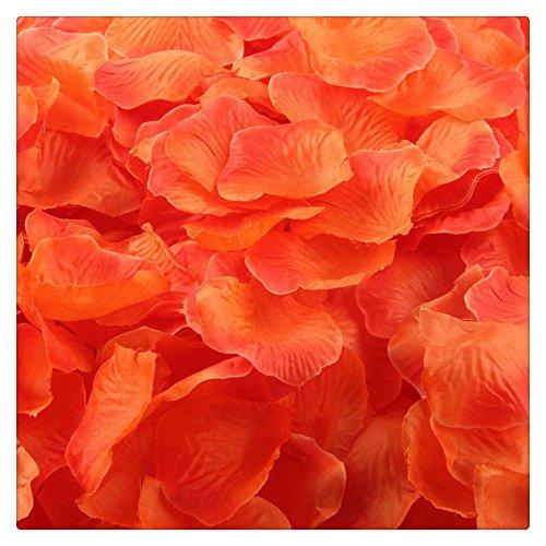 Artificial Flowers,FTXJ 1000pcs Silk Rose Artificial Petals Wedding Party Flower Favors Decorations (Orange 2) ()