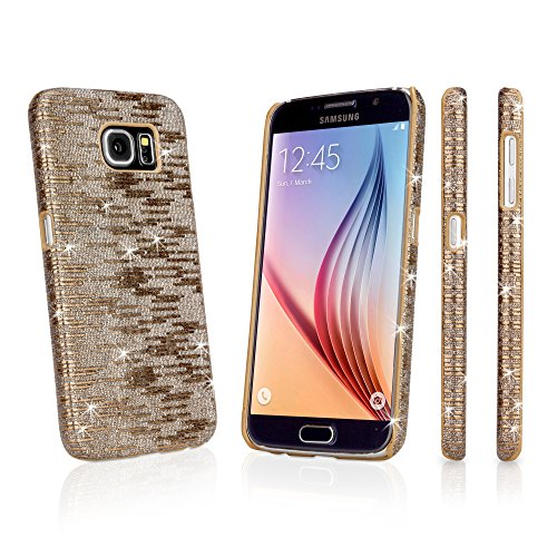 Galaxy S6 Case, BoxWave [Digital Glitz Case with BONUS Keychain Charger] Slim-Fit Back Cover with Glitter Pattern Design for Samsung Galaxy S6 - Bronze
