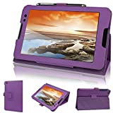 Evecase Lenovo IdeaTab A8-50 Case, SlimBook Leather Folio Stand Case with Magnetic Closure for Lenovo IdeaTab A8-50 / Tab A8 (A5500) 8-inch IPS Android Tablet - Purple
