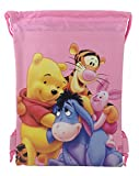 Disney Winnie The Pooh 10' X 14' Drawstring Backpack Heavy Duty Nylon Tote Bag Color (Light-(Blue, Purple, Pink) (Light Pink)