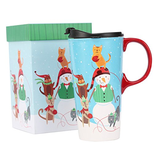 CEDAR HOME Travel Coffee Ceramic Mug Porcelain Latte Tea Cup With Lid in Gift Box 17oz. Snowman, Blue (Snowman Latte Mug)