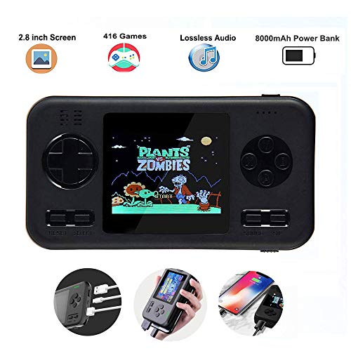 Peedeu Handheld Game Console,Retro Game Console Power Bank, 2.8 Inch Color Screen, Built-in 8000mah Battery and 416 Classic FC PVP Games Machine for Adult Kids (Best Retro Gaming Console)