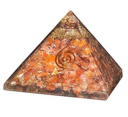 - Crocon Carnelian Orgone Crystal Gemstone Pyramid Energy Generator for Reiki Healing Aura Cleansing Chakra Balancing & EMF Protection Size: 3-3.5 Inch